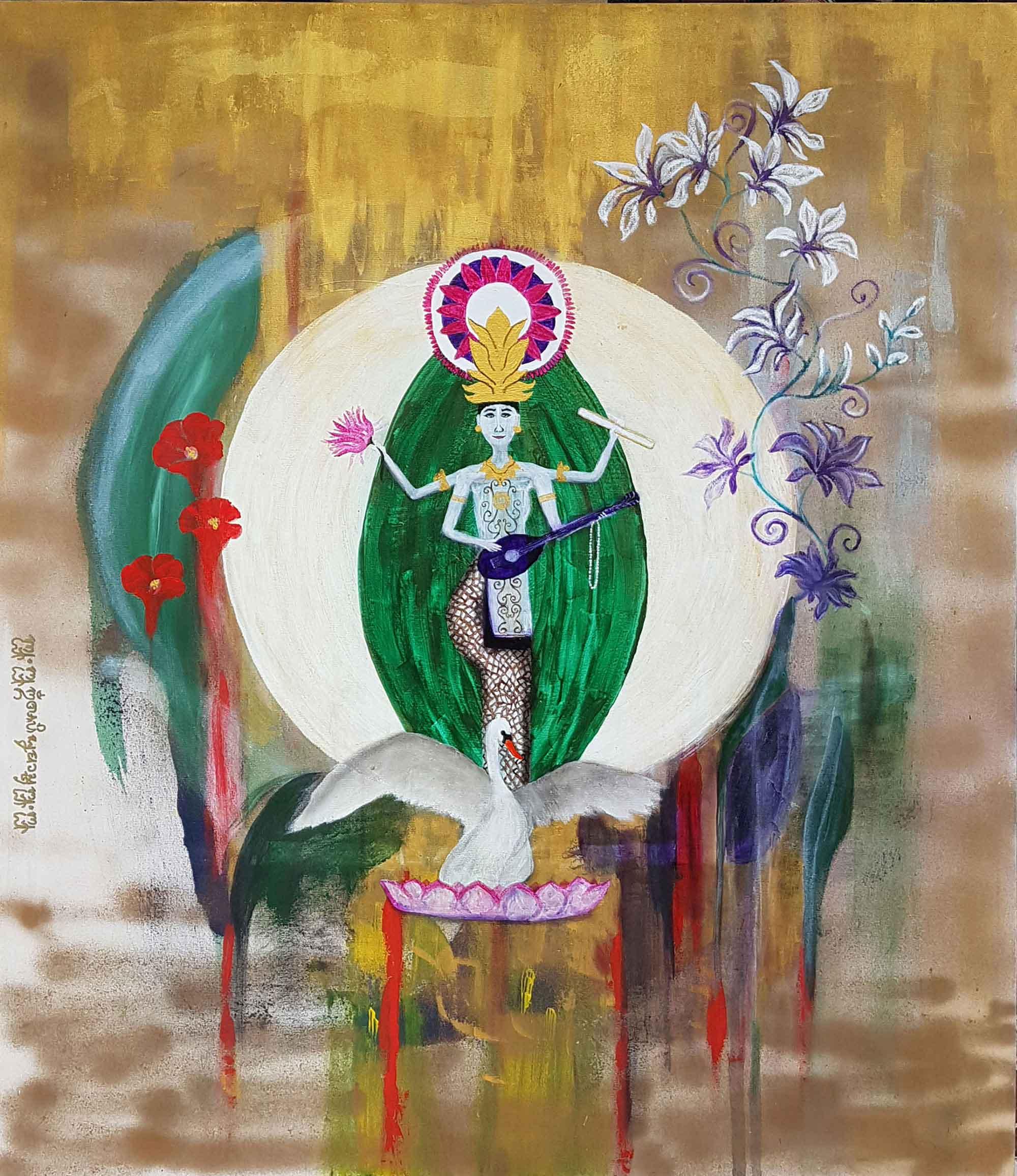Acrylgemälde, Göttin Saraswati in Bali von Sabine H. Engert